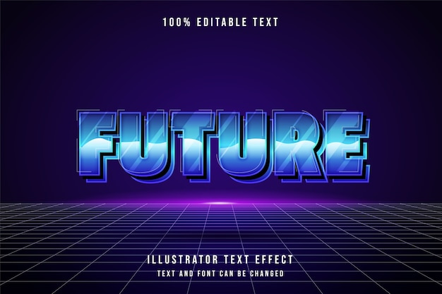 Futuro, efeito de texto editável em 3d, gradação azul, efeito estilo anos 80 Vetor Premium