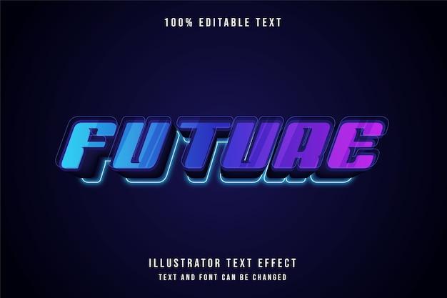 Futuro, efeito de texto editável em 3d gradação azul estilo roxo rosa neon