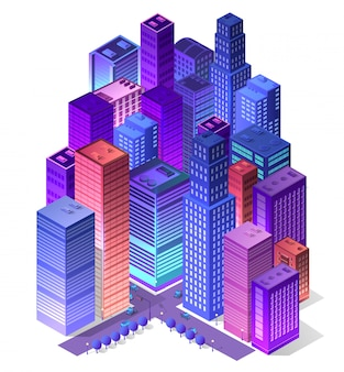Futuro isométrico futurista 3d