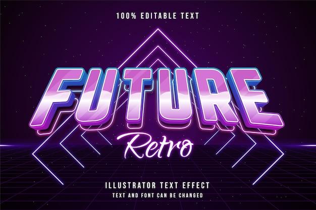 Futuro retro, efeito de texto editável em 3d, gradação azul rosa neon estilo de texto dos anos 80