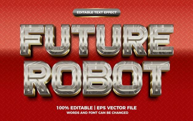 Futuro robô prata ouro metálico efeito de texto editável em 3d