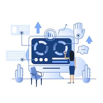 Futuro toque tecnologia inteligente casa tela azul ip painel