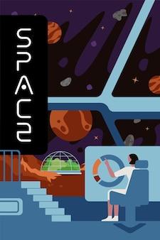 Futuros colonizadores de exploração interestelar estandarte cientistas na missão de colonização do planeta
