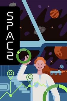 Futuros colonizadores de exploração interestelar poster cientistas na missão de colonização do planeta