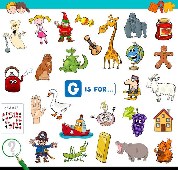 G é para jogo educativo para crianças