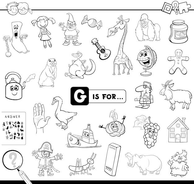 G é para livro de colorir jogo educativo