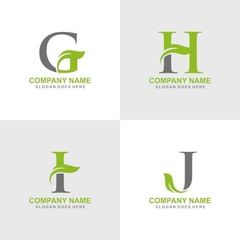 G, h, i, j conjunto de logotipo de folha inicial
