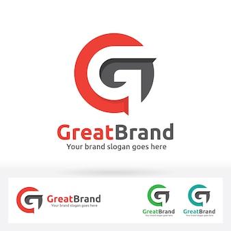 G letter brand logo, g letra em um círculo com sombra plana
