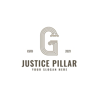 G letter logo justice and law firm pillar bold professional line art