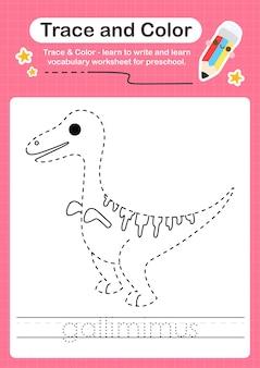 G palavra de rastreamento para dinossauros e planilha de rastreamento de cores com a palavra gallimimus