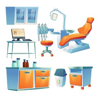 Gabinete de dentista, sala de estomatologia em clínica ou hospital