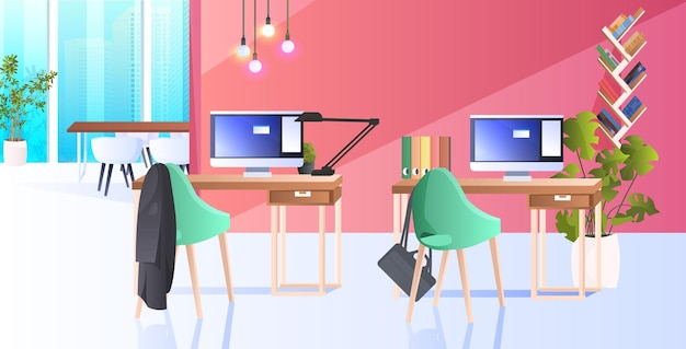 Gabinete moderno interior criativo centro de coworking sem pessoas espaço aberto sala de escritório com móveis horizontais