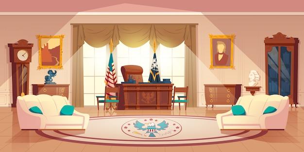 Gabinete oval de vetor na casa branca