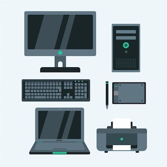 Gadget de ícones de escritório em cores preto