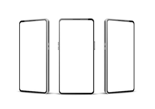 Gadget de modelo de telefone moderno em branco sem moldura realista com tela de toque