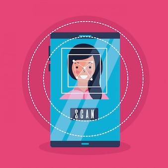 Gadget de processo de digitalização de rosto de mulher