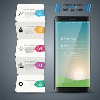 Gadget digital, modelo de negócios infográfico de smartphone