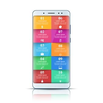 Gadget digital, smartphone. infográfico de negócios