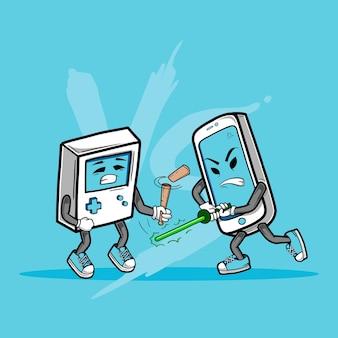 Gadget war smart phone versus old game console telefone inteligente usando uma espada leve e um gadget retro usando uma vara de baseball