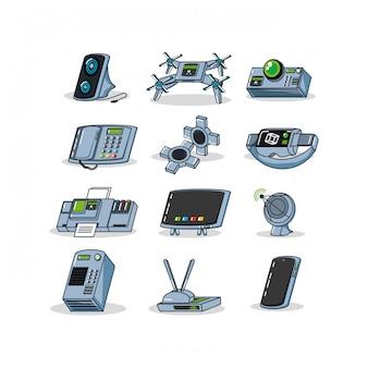 Gadgets de conjunto de tecnologia de equipamentos
