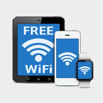 Gadgets de tecnologia com símbolo de internet wi-fi na tela