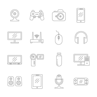 Gadgets e ícones de linha fina de tecnologia de computador
