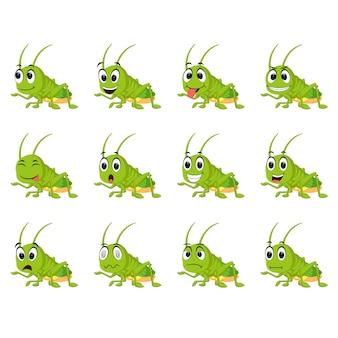 Gafanhoto com diferentes expressões faciais