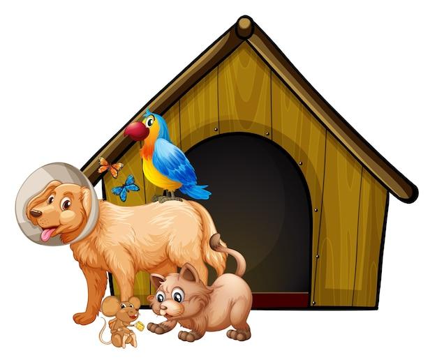 Gaiola de cachorro com desenho de grupo de cães isolado