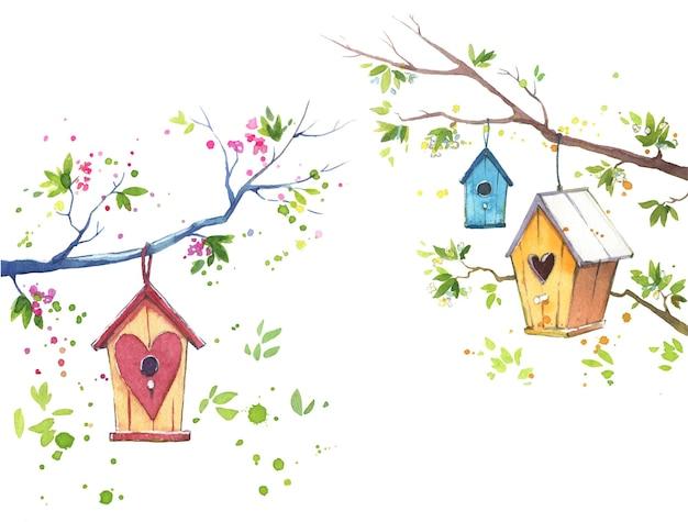 Gaiolas de madeira e árvores florescendo na ilustração em aquarela de primavera