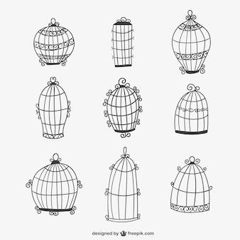 Gaiolas de pássaros caligráficos