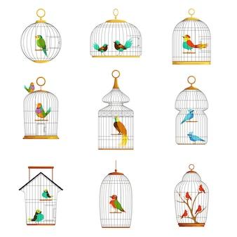 Gaiolas de pássaros com diferentes conjuntos de ilustrações de pássaros