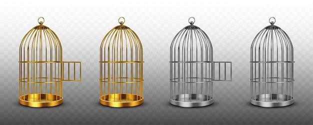 Gaiolas para pássaros, gaiolas vazias vintage de cor dourada e prateada