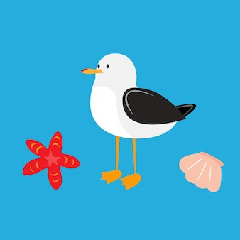 Gaivota albatroz pássaro estrela do mar e concha do mar desenho animado gaivota ilustração estoque vetorial