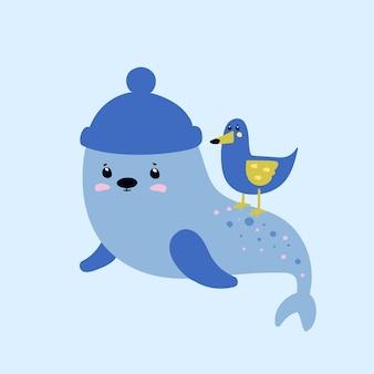Gaivota e um selo. animais marinhos