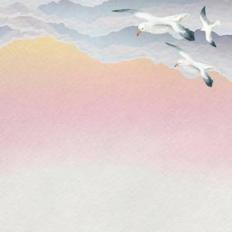 Gaivotas em aquarela voando no fundo do céu
