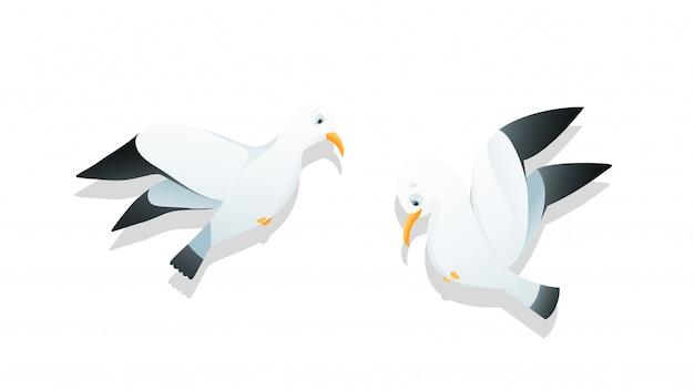 Gaivotas voando personagem desenho animado estilo aquarela crianças ilustração vetor clip-art.