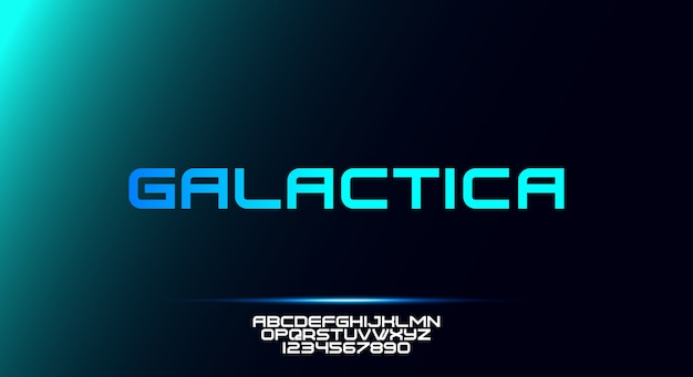 Galactica, uma fonte do alfabeto de tipografia esportiva moderna e arrojada