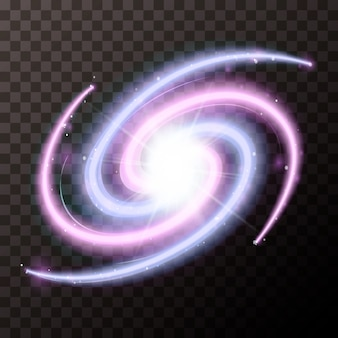 Galáctico espiral com muitas estrelas em fundo transparente