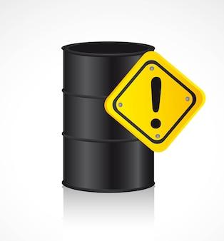 Galão de combustível com fundo de sinal de aviso