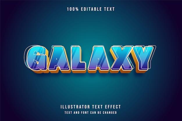 Galáxia, 3d efeito de texto editável gradação azul estilo roxo amarelo