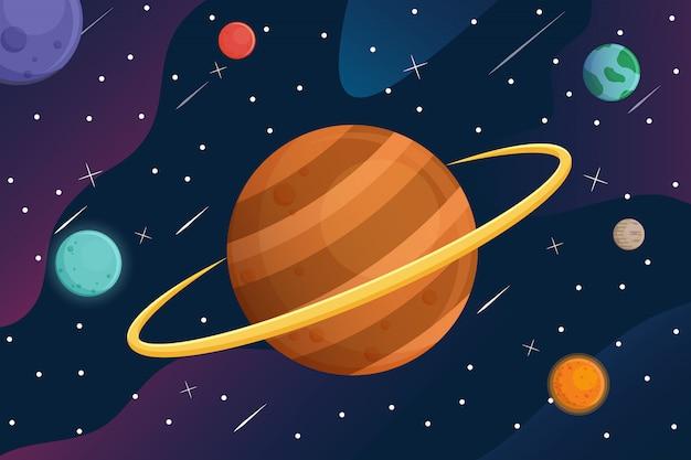Galáxia com planetas dos desenhos animados no fundo do espaço