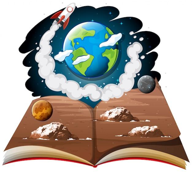 Galáxia com terra e foguete em um livro