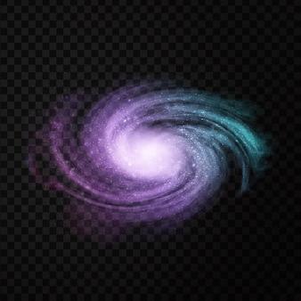 Galáxia cósmica isolada realista de vetor para decoração e cobertura em transparente