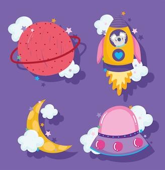 Galáxia de aventura espacial em estilo de desenho animado planeta foguete lua e ilustração de ícones ufo