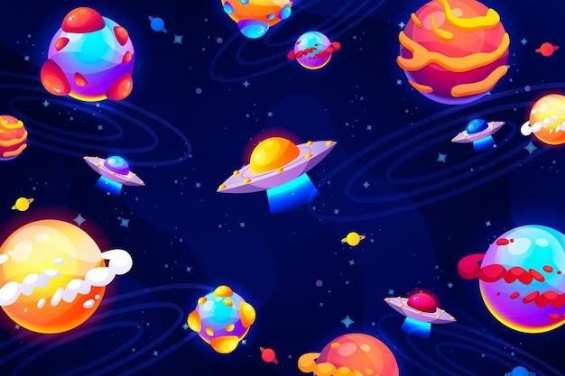 Galáxia de desenho animado com fundo de estrelas