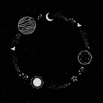 Galáxia decorada com moldura de arte de linha mínima
