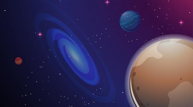 Galáxia e planeta cena