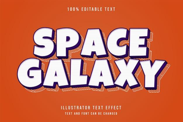 Galáxia espacial, efeito de texto editável em 3d com camadas de gradação roxa e estilo de sombra