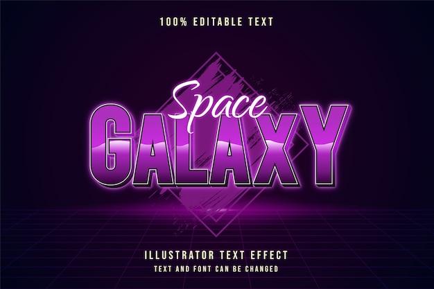 Galáxia espacial, efeito de texto editável em 3d com gradação roxa e estilo de texto em néon