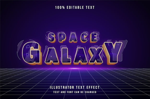 Galáxia espacial, efeito de texto editável em 3d, efeito de gradação roxa no estilo amarelo